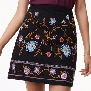 Loft Mini Skirt - Black with Floral Embroidery